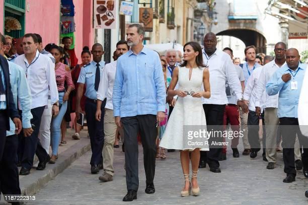 King Felipe VI of Spain and Queen Letizia of Spain visit La Havana Vieja on November 12 2019 in La Havana Cuba King Felipe VI of Spain and Queen...