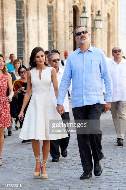 King Felipe VI of Spain and Queen Letizia of Spain visit La Havana Vieja on November 12 2019 in La Havana Cuba King Felipe VI of Spain and Queen...