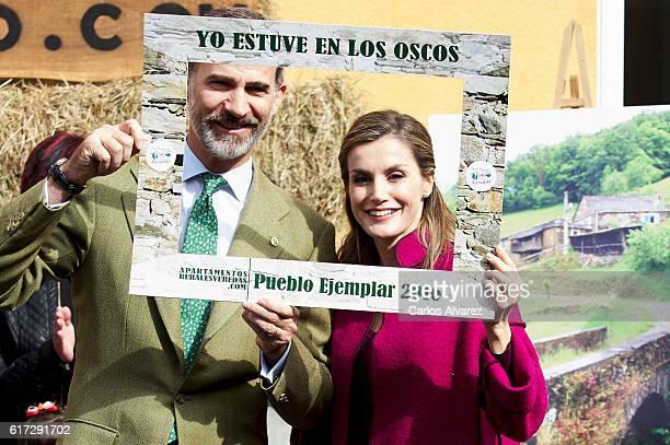 King Felipe VI of Spain and Queen Letizia of Spain visit Los Oscos Region on October 22, 2016 in Los Oscos, Spain. The region of Los Oscos was...