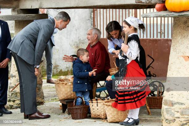 King Felipe VI of Spain and Queen Letizia of Spain visit Moal village on October 20 2018 in Cangas de Narcea Spain Moal has been honoured as the 2018...