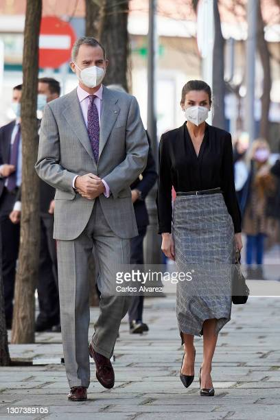 King Felipe VI of Spain and Queen Letizia of Spain visit Spanish Royal Tapestry Factory on its 300 anniversary on March 16, 2021 in Madrid, Spain.