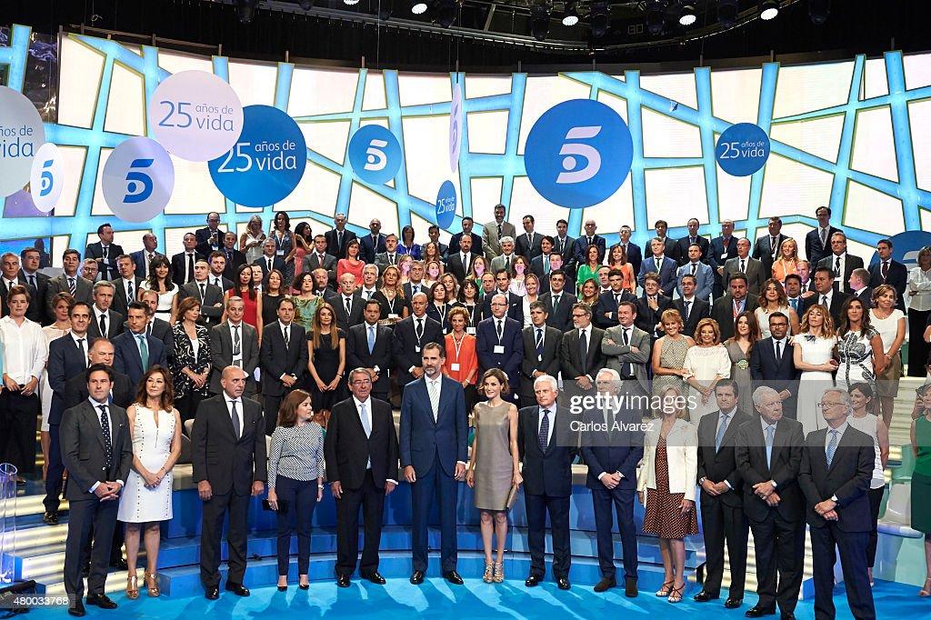 Spanish Royals Visit Telecinco Tv Channel : News Photo