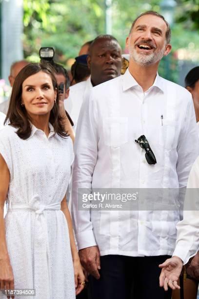 King Felipe VI of Spain and Queen Letizia of Spain visit Templete, Plaza de Armas and Palacio de los Capitanes Generales on November 13, 2019 in La...