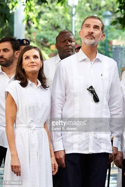 King Felipe VI of Spain and Queen Letizia of Spain visit Templete Plaza de Armas and Palacio de los Capitanes Generales on November 13 2019 in La...