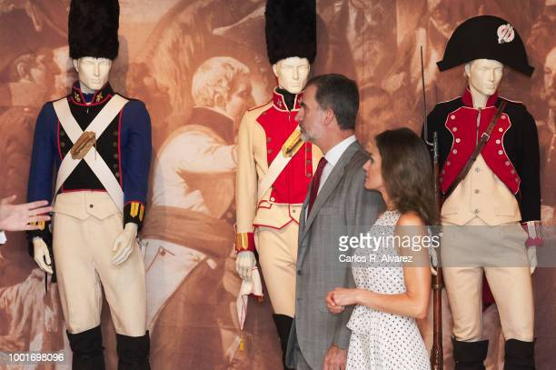 King Felipe VI of Spain and Queen Letizia of Spain visit the city of Bailen in occasion of the 210th anniversary of the Bailen Battle on July 19 in...