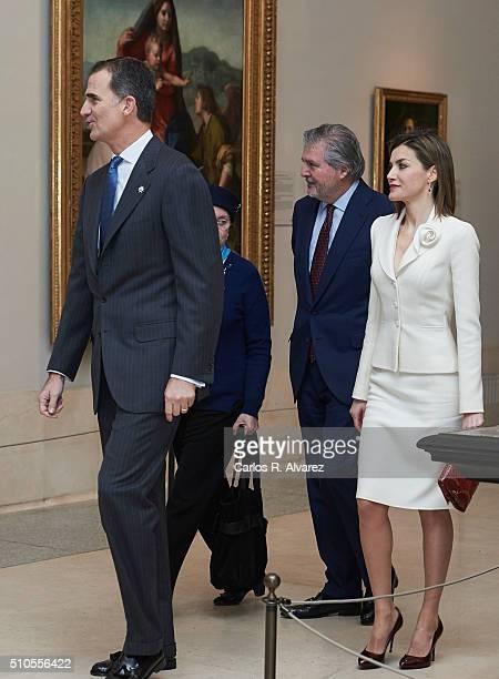 King Felipe VI of Spain and Queen Letizia of Spain visit the El Prado Museum on February 2016 in Madrid Spain