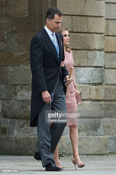 King Felipe VI of Spain and Queen Letizia of Spain visit the Cathedral of Santiago de Compostela on the first anniversary of the train accident on...