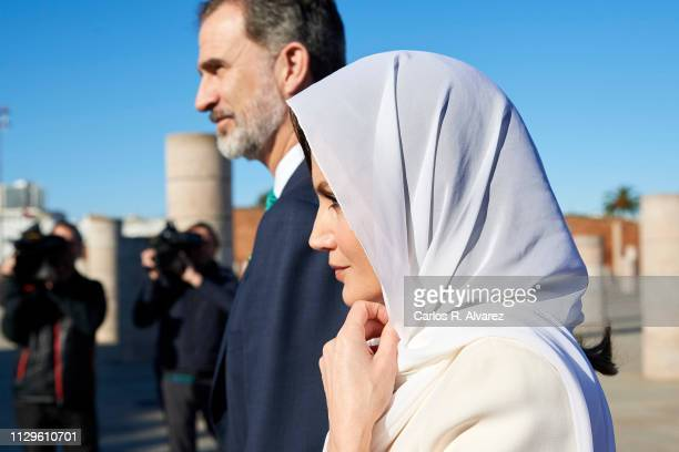 King Felipe VI of Spain and Queen Letizia of Spain visit the Mausoleum of King Mohammed V on February 14 2019 in Rabat Morocco