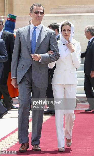King Felipe VI of Spain and Queen Letizia of Spain visit the Mausoleum of King Mohammed V on July 15 2014 in Rabat Morocco The new King and Queen of...
