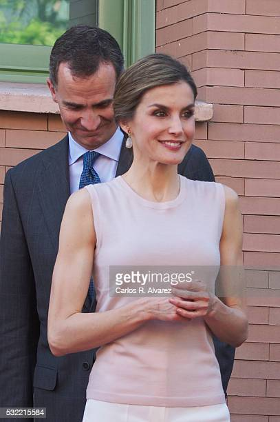 King Felipe VI of Spain and Queen Letizia of Spain visit the Observatory of Specifity Castilla La Mancha located in the Faculty of Social Sciences in...