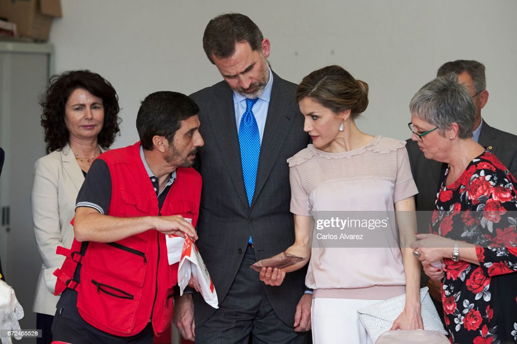 King Felipe VI of Spain and Queen Letizia of Spain visit the headquarters of World Food Program of the Palmas de Gran Canaria and the Center for Cooperation with Africa of the Spanish Red Cross at Puerto de la Luz on April 24, 2017 in Las Palmas de Gran Canaria, Spain.