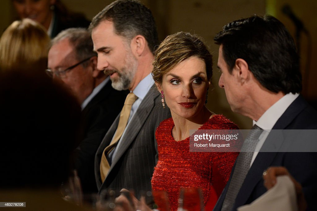 King Felipe VI of Spain (L) and Queen Letizia of Spain (C) visit the 'Freixenet' wine cellar on February 12, 2015 in Sant Sadurni d'Anoia, Spain. Freixenet celebrates it's 100th anniversary as a cava winery specializing in sparkling wine making.