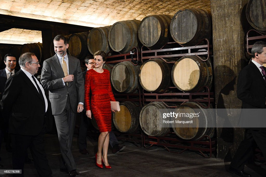 King Felipe VI of Spain and Queen Letizia of Spain visit the 'Freixenet' wine cellar on February 12, 2015 in Sant Sadurni d'Anoia, Spain. Freixenet celebrates it's 100th anniversary as a cava winery specializing in sparkling wine making.