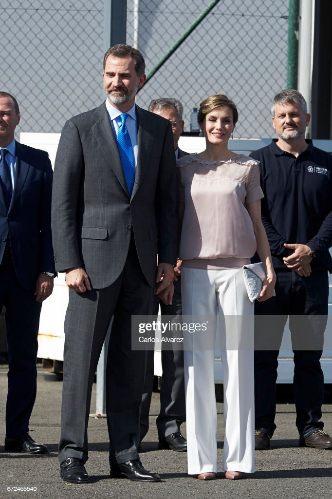 King Felipe VI of Spain and Queen Letizia of Spain visit to the headquarters of World Food Program of the Palmas de Gran Canaria and the Center for Cooperation with Africa of the Spanish Red Cross at Puerto de la Luz on April 24, 2017 in Las Palmas de Gran Canaria, Spain.