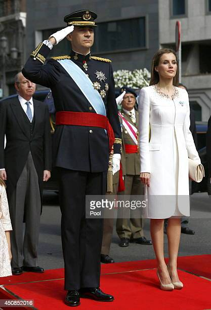 King Felipe VI of Spain and Queen Letizia of Spain watch a parade of Civil Guard at the Congress of Deputies prior to the King's official coronation...