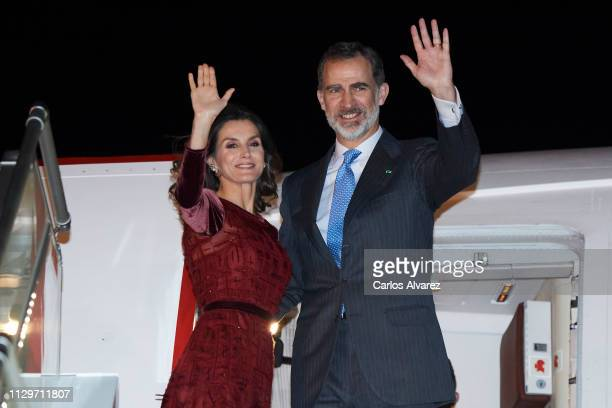 King Felipe VI of Spain and Queen Letizia of Spain wave goodbye as they depart Rabat Airport after a two day visit on February 14, 2019 in Rabat,...