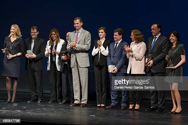 King Felipe VI of Spain and Queen Letizia of Spain with the winners of the National Awards for Innovation and Design 2015 on November 5 2015 in...