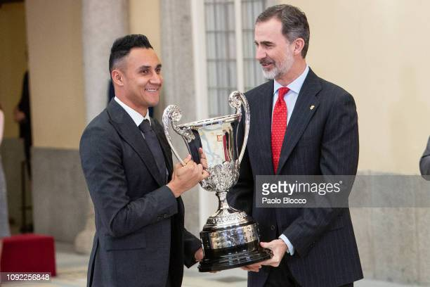 King Felipe VI of Spain and Real Madrid Goalkeeper Keylor Navas attend the National Sports Awards 2017 at the El Pardo Palace on January 10 2019 in...