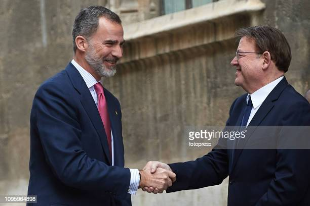 King Felipe VI of Spain and Regional Government of Generalitat Valenciana Ximo Puig attend Delivers 'Premio De Convivencia' Award at Palau de La...