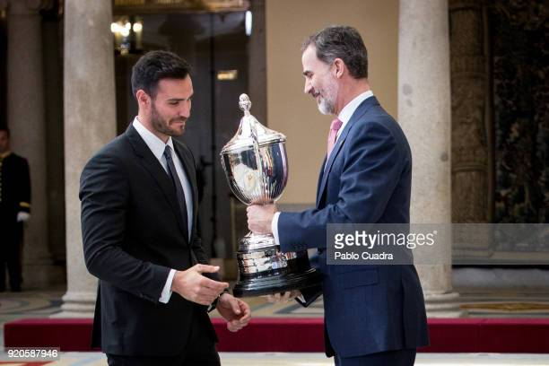 King Felipe VI of Spain and Saul Craviotto attend the National Sports Awards ceremony at El Pardo Palace on February 19 2018 in Madrid Spain