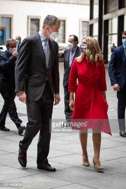 King Felipe VI Of Spain and Second Deputy Prime Minister Yolanda Díaz attend CEPYME awards at the Reina Sofía Museum on April 08, 2021 in Madrid,...