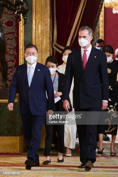 King Felipe VI of Spain and South Korean President Moon Jae-in attend a State Dinner honouring Korean President at the Royal Palace on June 15, 2021...