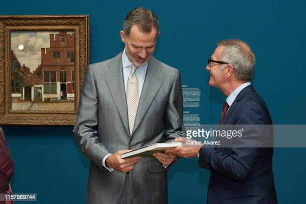 King Felipe VI of Spain and Spanish culture minister Jose Guirao inaugurate 'Velazquez Rembrandt Vermeer Miradas Afines' exhibition at El Prado...