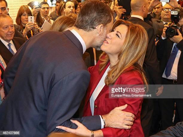 King Felipe VI of Spain and Susana Diaz attend 'FITUR' International Tourism Fair opening at Ifema on January 28 2015 in Madrid Spain