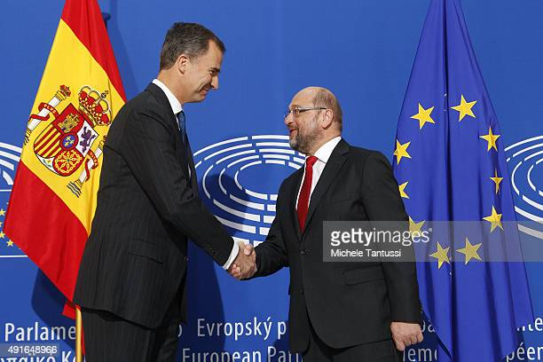 King Felipe VI of Spain and the President of the EU Parliament Martin Schulz shake hands outside the plenary room of the EU Parliament ahead of the...