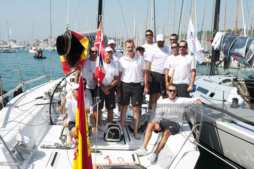 King Felipe VI (C) of Spain arrives at the Royal Nautic Club during the 36th Copa Del Rey Mapfre Sailing Cup on July 31, 2017 in Palma de Mallorca, Spain.