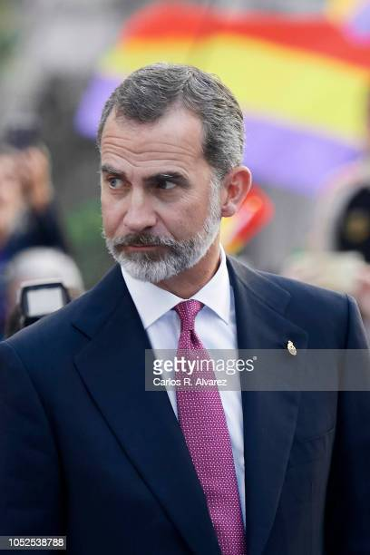 King Felipe VI of Spain arrives to the 2018 Princess of Asturias Awards Ceremony at the Campoamor Teather on October 19 2018 in Oviedo Spain