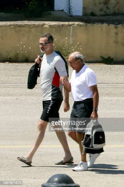 King Felipe VI of Spain arrives to the Aifos yacht for a training day at Puerto Pi on July 29 2018 in Palma de Mallorca Spain