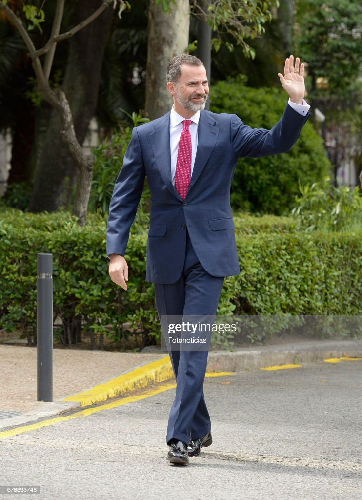 King Felipe VI of Spain arrives to the National Library on May 4, 2017 in Madrid, Spain.