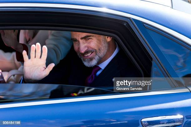 King Felipe VI of Spain attend The Commemoration of Capitulations of Valladolid at Monasterio de Nuestra Se–ora de Prado on March 22 2018 in...