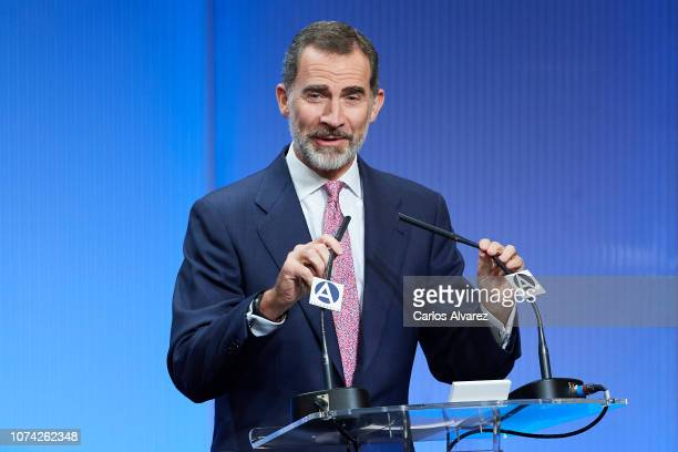 King Felipe VI of Spain attends '40 Años de Diplomacia en Democracia Una Historia de Exito' exhibition at Casa de America on November 29 2018 in...