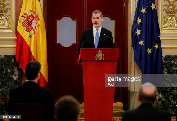 King Felipe VI of Spain attends 40th anniversary of 23-F at the Spanish Parliament on February 23, 2021 in Madrid, Spain.