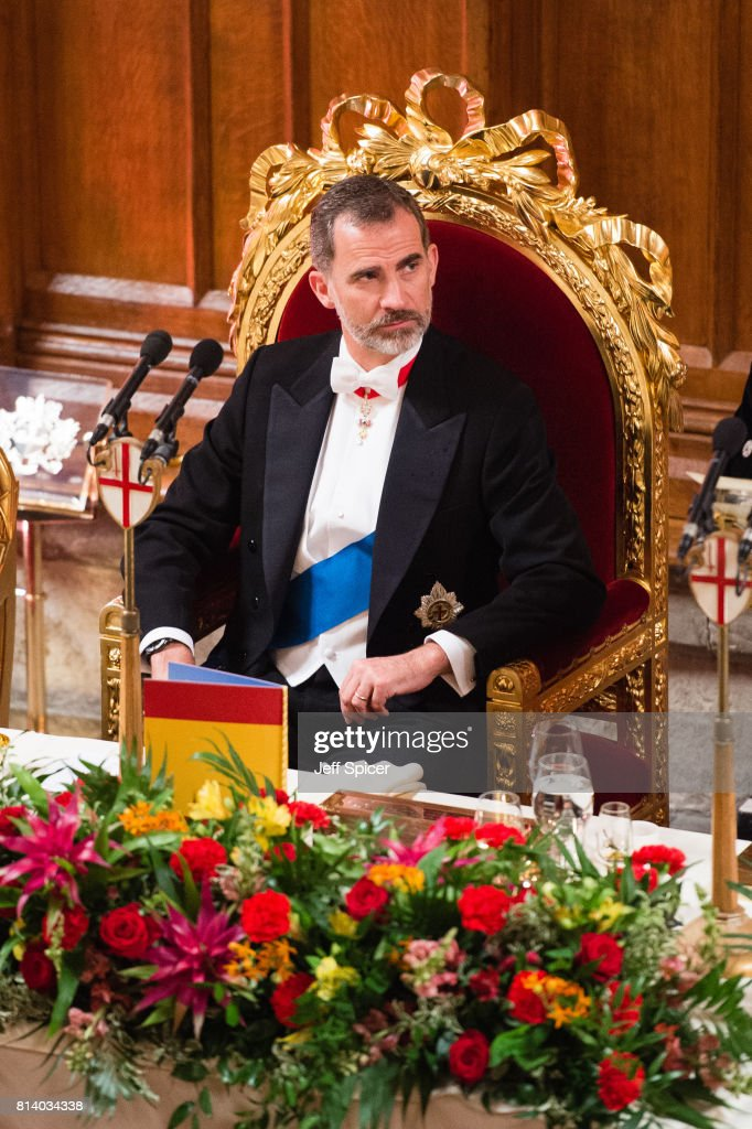 King Felipe VI of Spain attends a banquet at the Guildhall during a State visit by the King and Queen of Spain on July 13, 2017 in London, England. This is the first state visit by the current King Felipe and Queen Letizia, the last being in 1986 with King Juan Carlos and Queen Sofia.