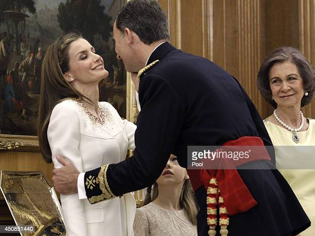 King Felipe VI of Spain attends a ceremony in the Hearing Room of Zarzuela Palace with Queen Letizia of Spain and Queen Sofia prior to the King's...
