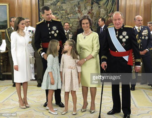 King Felipe VI of Spain attends a ceremony in the Hearing Room of Zarzuela Palace with Queen Letizia of Spain Princess Leonor Princess of Asturias...