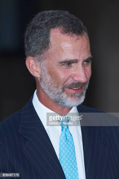 King Felipe VI of Spain attends a dinner for authorities at the Almudaina Palace on August 4 2017 in Palma de Mallorca Spain