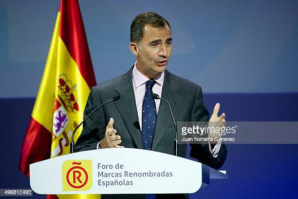 King Felipe VI of Spain attends a meeting with ambassadors of the Spanish Brand at Auditorio Ciudad BBVA on November 12 2015 in Madrid Spain