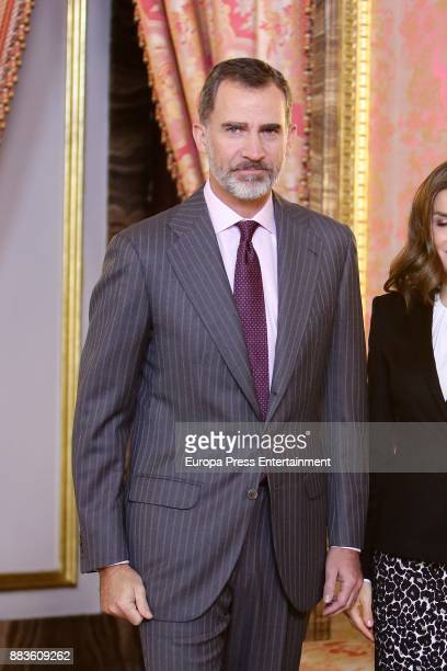 King Felipe VI of Spain attends a meeting with 'Princesa de Girona' Foundation members at the Royal Palace on December 1 2017 in Madrid Spain