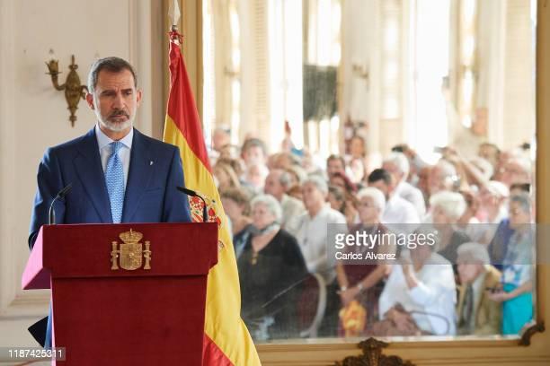 King Felipe VI of Spain attends a reception to Spanish community at the Alicia Alonso Gran Theater on November 13, 2019 in La Havana, Cuba. King...