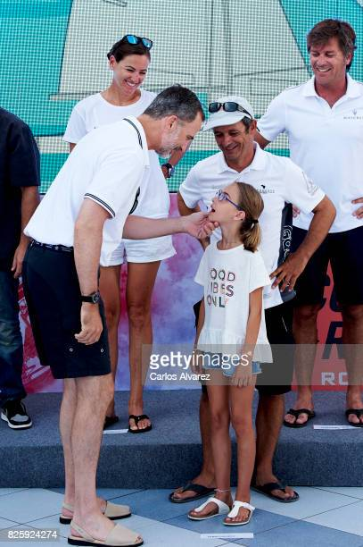 King Felipe VI of Spain attends a tribute to the Olympic Sailors of Barcelona'92 during the 36th Copa Del Rey Mafre Sailing Cup at the Royal Nautic...
