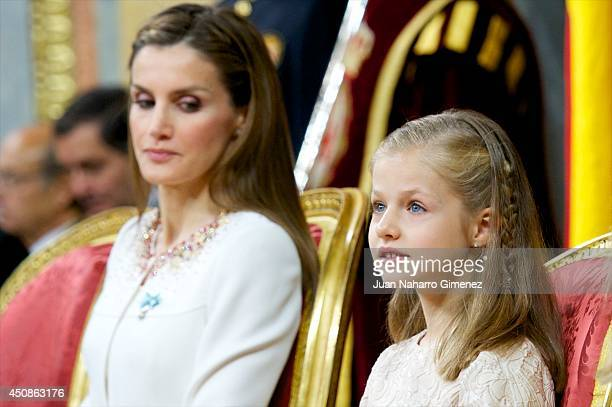King Felipe VI of Spain attends along side Queen Letizia of Spain and Princess Leonor, Princess of Asturias during his inauguration at the Parliament...