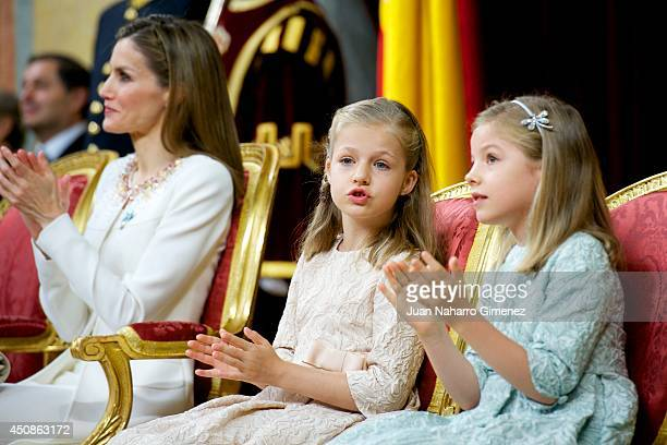 King Felipe VI of Spain attends along side Queen Letizia of Spain , Princess Leonor, Princess of Asturias and Princess Sofia of Spain during his...