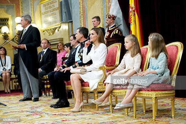 King Felipe VI of Spain attends along side Queen Letizia of Spain, Princess Leonor, Princess of Asturias and Princess Sofia of Spain during his...