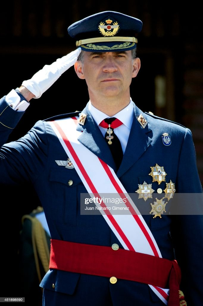 King Felipe VI of Spain attends an official Air Force Academy ceremony at Military Airfield Virgen del Camino on July 9, 2014 in Virgen del Camino, Spain.