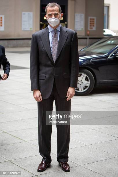 King Felipe VI Of Spain attends CEPYME awards at the Reina Sofía Museum on April 08, 2021 in Madrid, Spain.