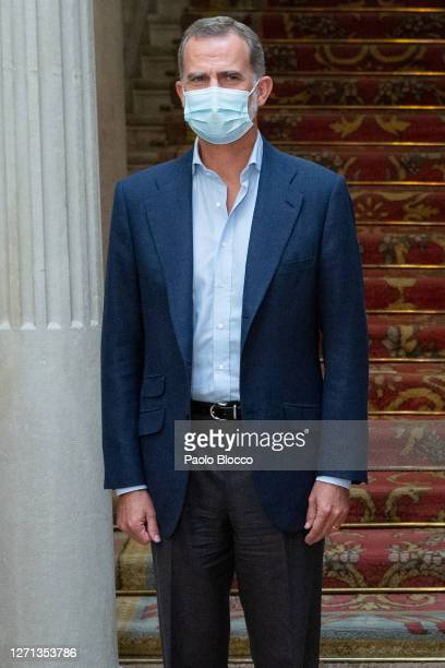 King Felipe VI of Spain attends Cooperator's Day event at the Viana Palace on September 08, 2020 in Madrid, Spain.